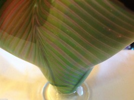 Art Vase Blown Glass Two tone green and pink fern swirl made in USA image 6