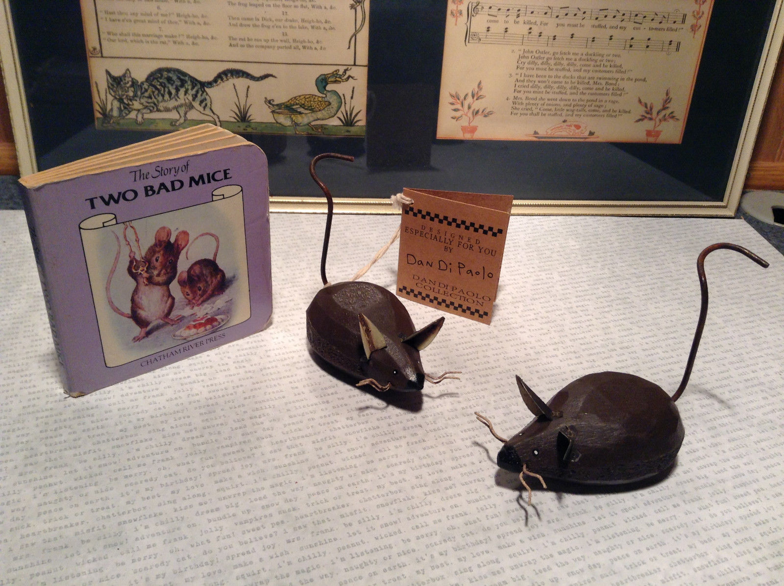 The Story of Two Bad Mice by Chatham River Story Book Pair of Brown Wooden Mice
