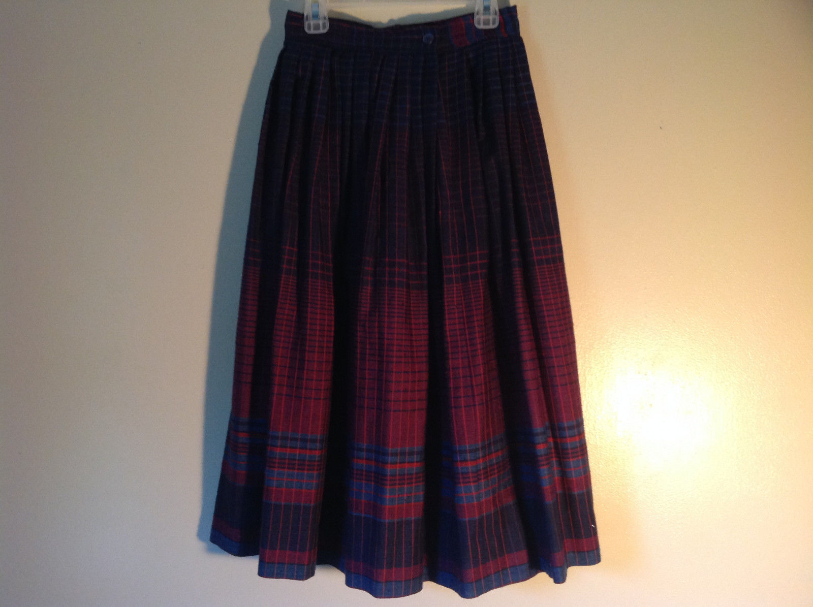 The Villager Plaid Navy Blue Teal and Red Full Skirt Size 4 Petite