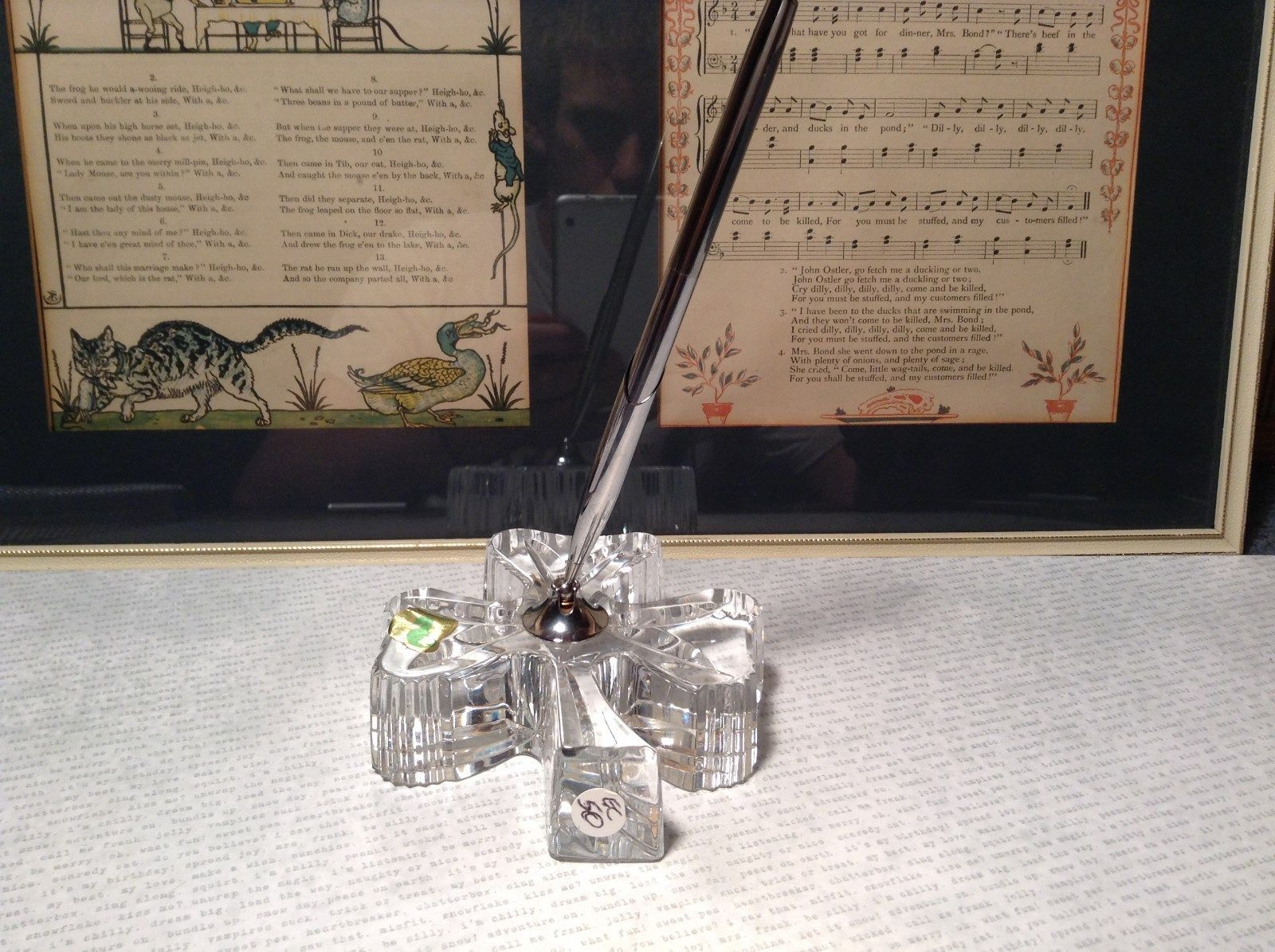 Three Leaf Shamrock Clear Glass Pen Holder Silver Tone Pen Waterford Crystal