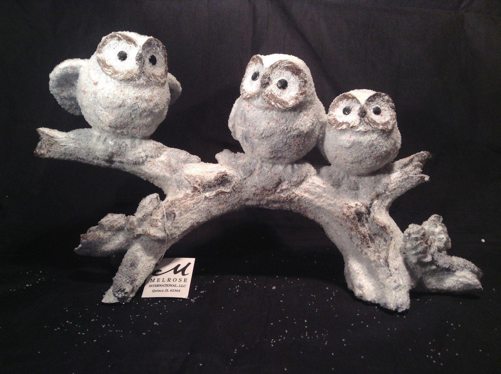 Three Owls Sitting on Tree Branch Decoration