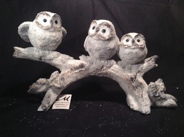 Three Owls Sitting on Tree Branch Decoration