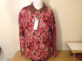 Reversible Batik Blush Pink to Solid Brown Pleated Shirt Jacket Top, Size XL-1X image 3