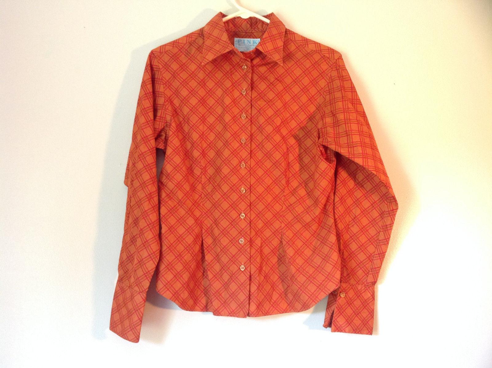 Thomas Pink Luxury Designer Shirt Orange Diamond Pattern Size US 10