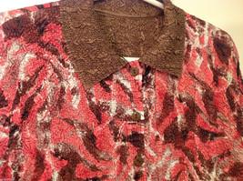 Reversible Batik Blush Pink to Solid Brown Pleated Shirt Jacket Top, Size XL-1X image 5