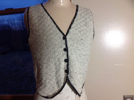 This'll Make Him Nuts!  Knit Sweater Vest Tan with  Black Trim V-Neck Size S/M image 1