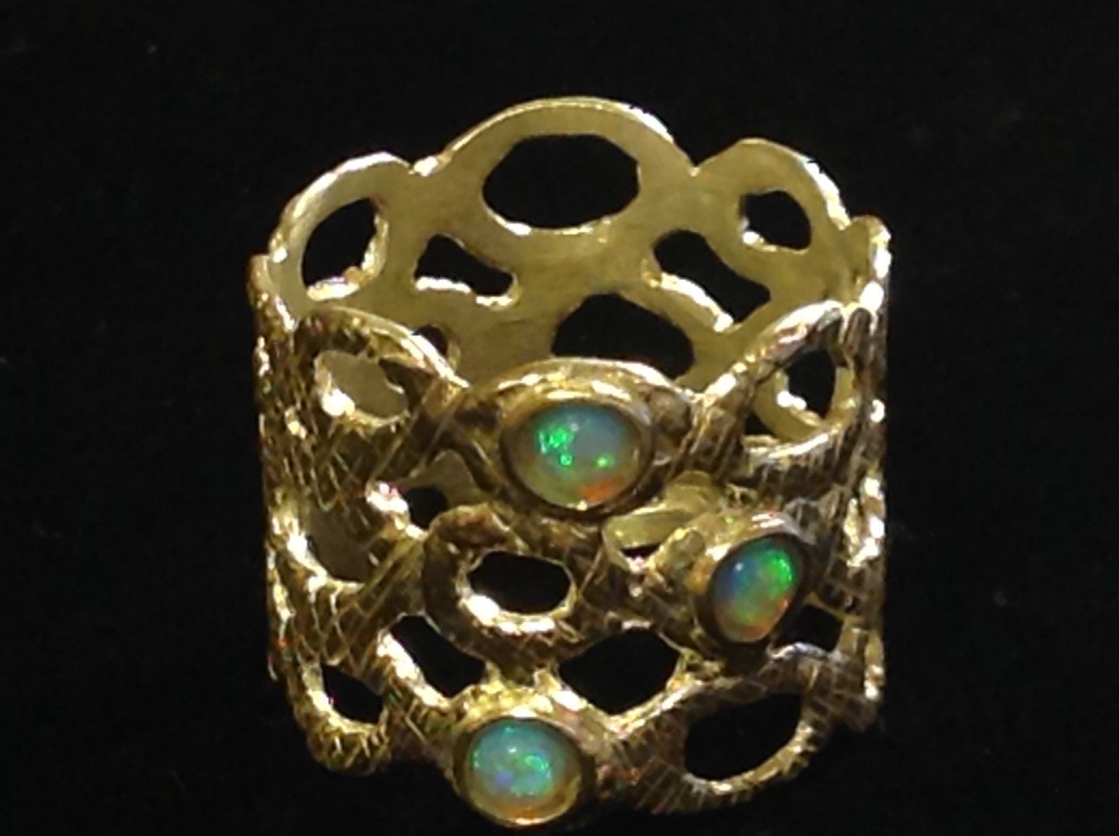 Three Opal Sterling Silver Textured Lacy Shiny Cuff Ring Size Choice 7 or 8
