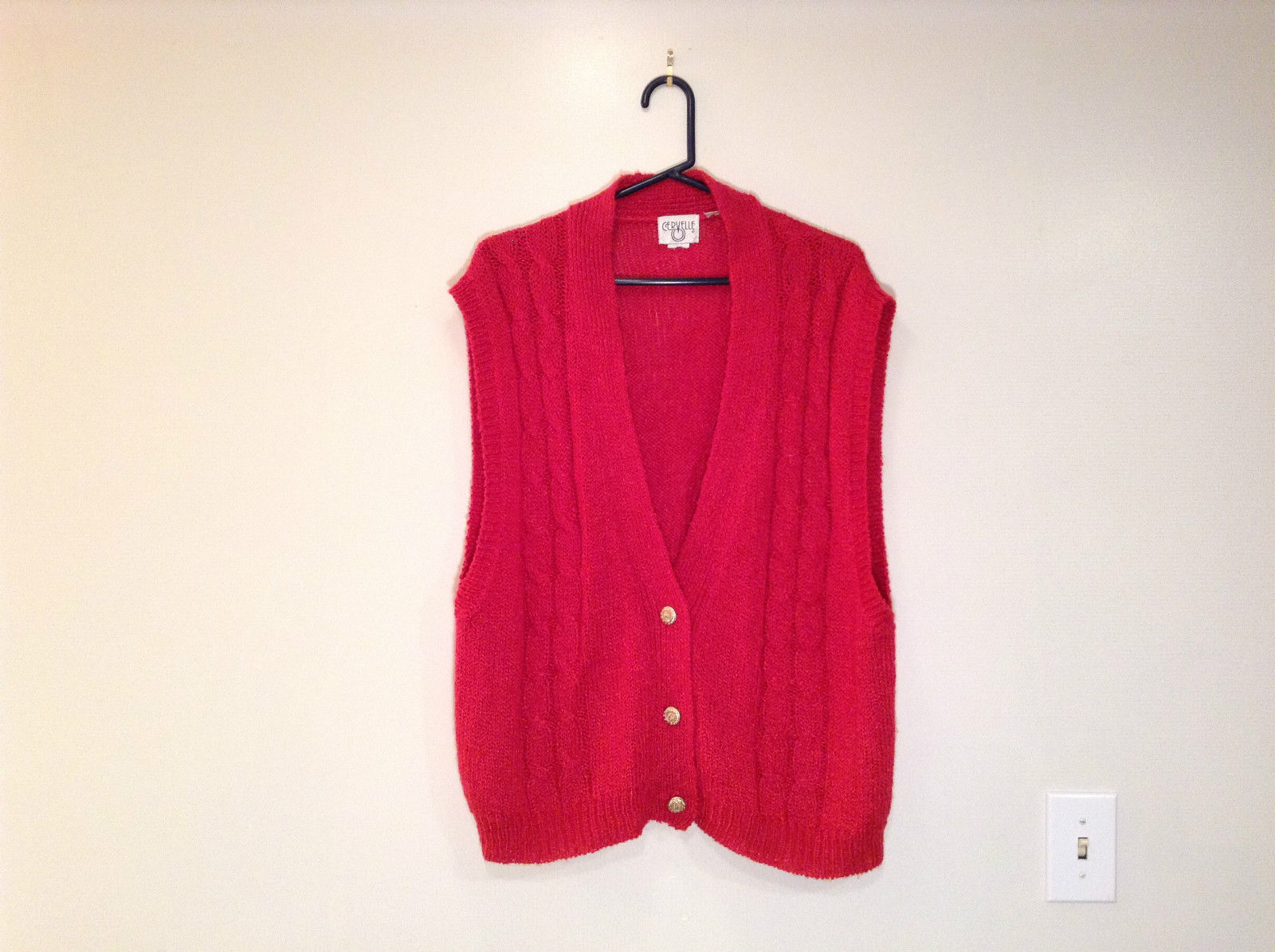 Three Button Closure V Neck Red Knitted Sleeveless Vest Cervelle No Size Tag