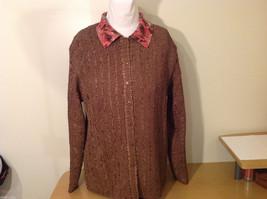 Reversible Batik Blush Pink to Solid Brown Pleated Shirt Jacket Top, Size XL-1X image 2