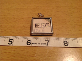Reversible Versatile Metal and Glass Tag Charm Present Tie On Believe and Santa image 3