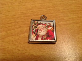 Reversible Versatile Metal and Glass Tag Charm Present Tie On Believe and Santa image 2