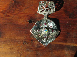 Rhombus with Violet Crystals and Multicolored Crystal Silver Tone Scarf Pendant image 3