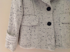 Robert Louis White Black Speckled Double Button Light Winter Peacoat Size S image 3