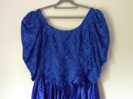 Royal Blue Vintage Ball Gown Dress Laced on Top Bow Zipper on Back image 2