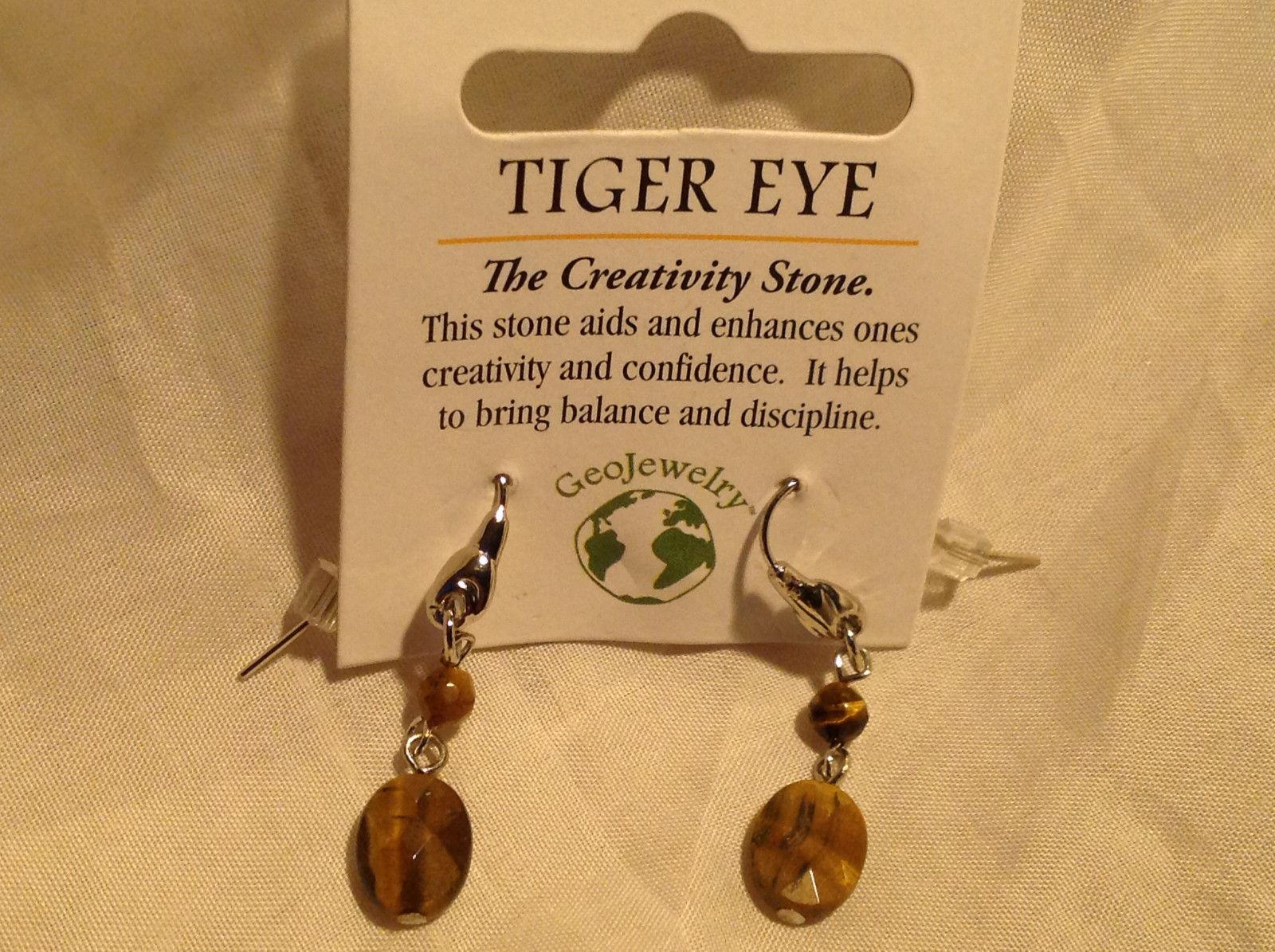 Tiger Eye Stone Quartz Crystal Silver Tone Drop Earrings Hook Back GeoJewelry