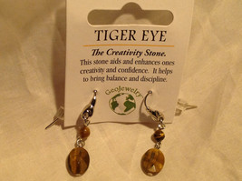 Tiger Eye Stone Quartz Crystal Silver Tone Drop Earrings Hook Back GeoJewelry