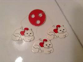 Three White Cats with Red Ribbons on Necks Window Ornament or Wind Chime