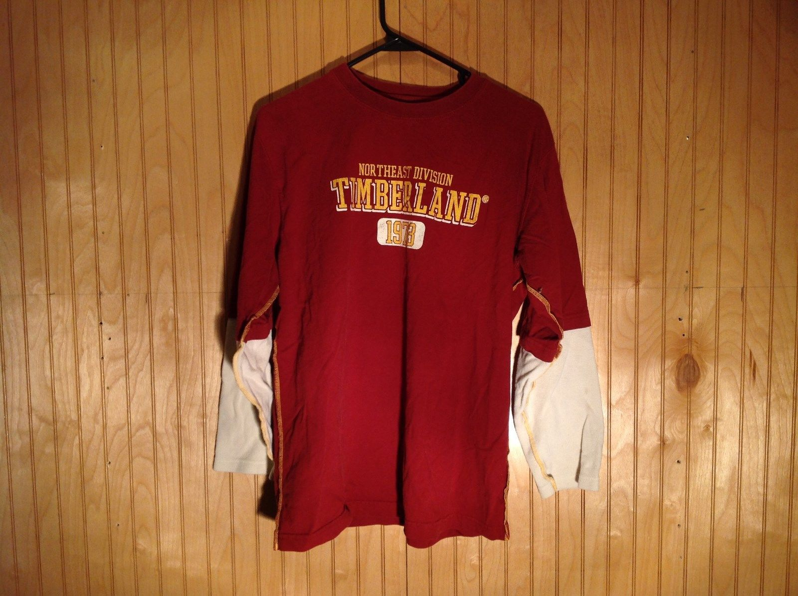 Timberland Long Sleeve Deep Red Shirt with White Sleeves Measurements Below