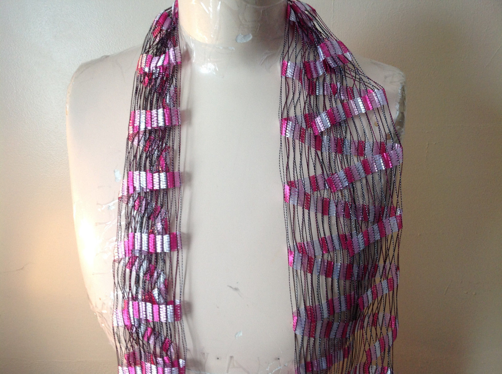 Three in One Filigree Scarf Headband Belt Dark Pinks