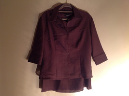 Three Piece Plum Blazer Shirt and Skirt Set by Woman size 10 M 38