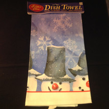 Three Snowman Sticking Heads Out Tall Hats Fiddlers Elbow Christmas Dish Towel