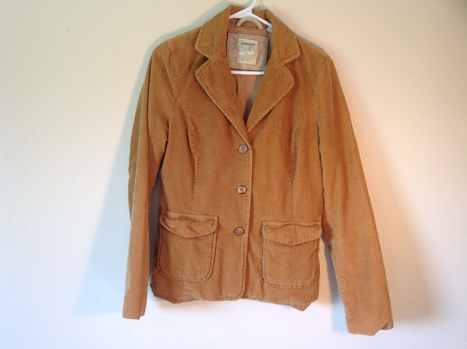 Timberland Brown Corduroy Jacket 2 Front Pockets 3 Button Closure Size 8