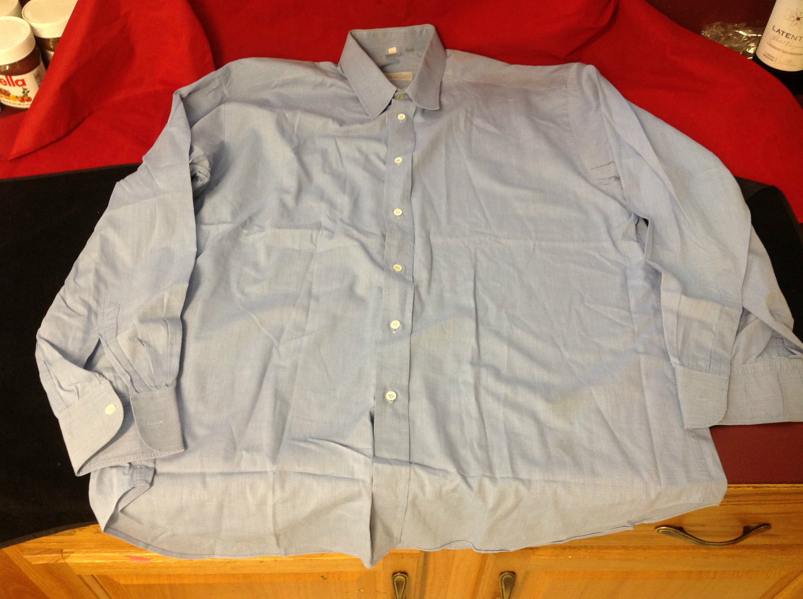 Tiatteli Mens Light Blue Long Sleeve Dress Shirt Made in Italy Size 16 Regular