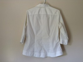 Riders by Lee White Button Down Shirt Collar Instantly Slims You Size Medium image 3
