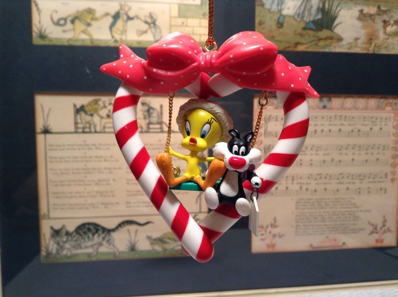 Tweety Bird and Sylvester Cat Candy Cane Heart Shaped Ornament Resin