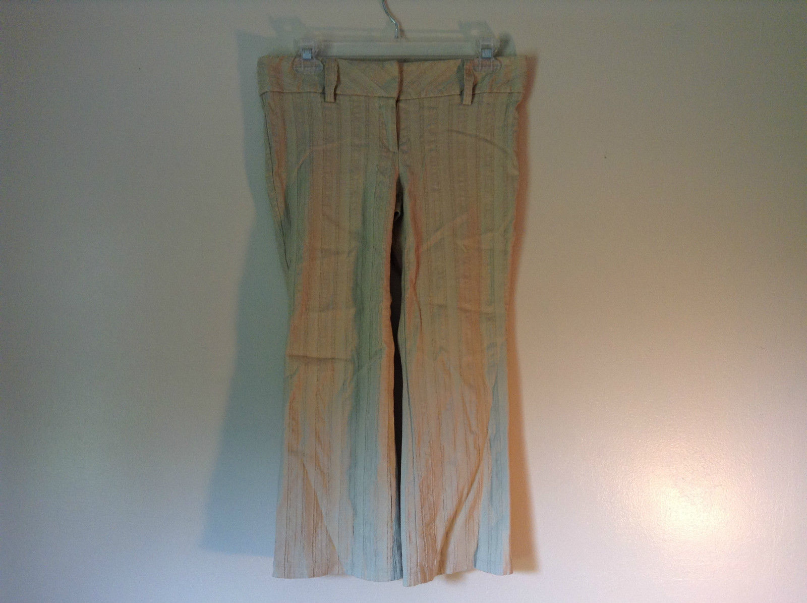 Twenty One Size Medium Cream Colored Striped Casual Pants Stretchy Waist