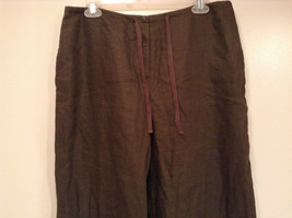 Army Green 100 Percent Linen Pants Size 12 Excellent Condition String Tie Waist image 2