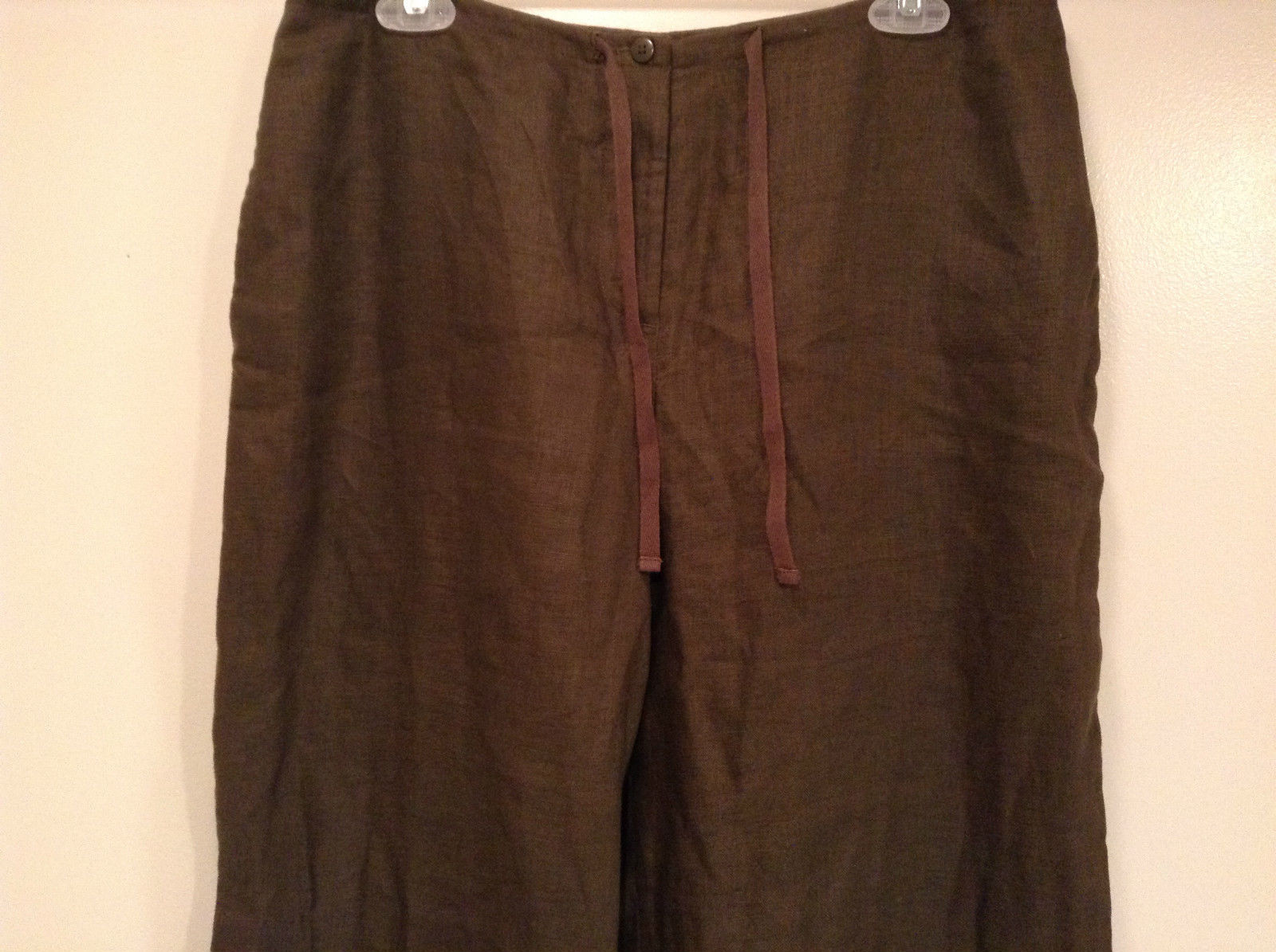 Army Green 100 Percent Linen Pants Size 12 Excellent Condition String Tie Waist