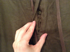 Army Green 100 Percent Linen Pants Size 12 Excellent Condition String Tie Waist image 5
