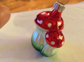 Tiny double mushroom silver red Glass Holiday Tree Ornament Old German Christmas