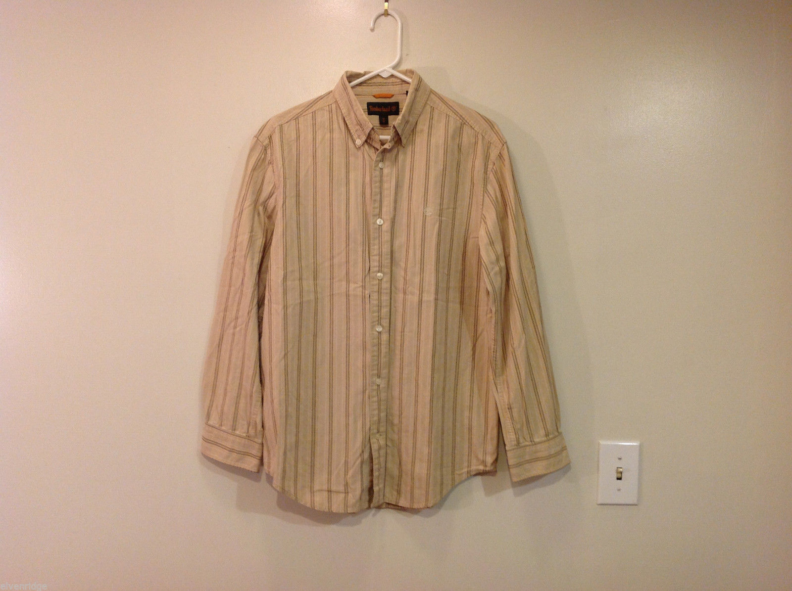 Timberland Striped Light Brown Beige Casual 100% cotton Shirt, Size M