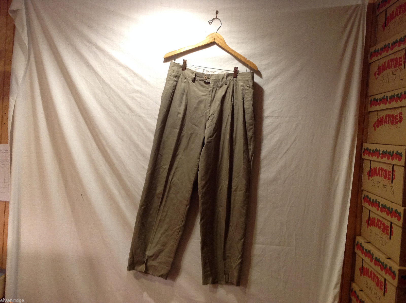 Tinocheda de Florentino Light Olive Green Classic Pants, Size 34, made in Spain