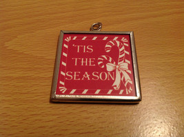 Tis the Season Metal and Glass Tag Charm Present Tie On Reversible Versatile