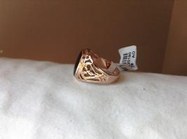 Rose Gold Tone Black Rectangular Stone Heart Swirl Ring Size 8.75 and 10.25 image 2