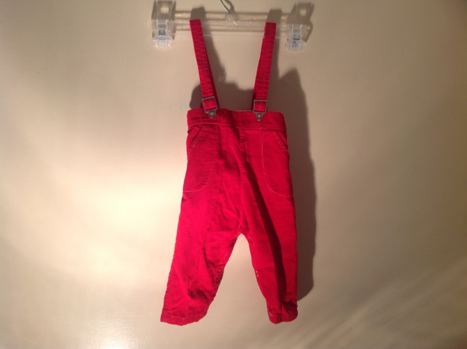 Toddler Red Corduroy Strapped Pants Suspenders NO TAG Measurements Below