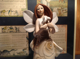 Rose Angel Porcelain Figurine Angel Holding Bunny Rabbit by Angel Star with Box image 2