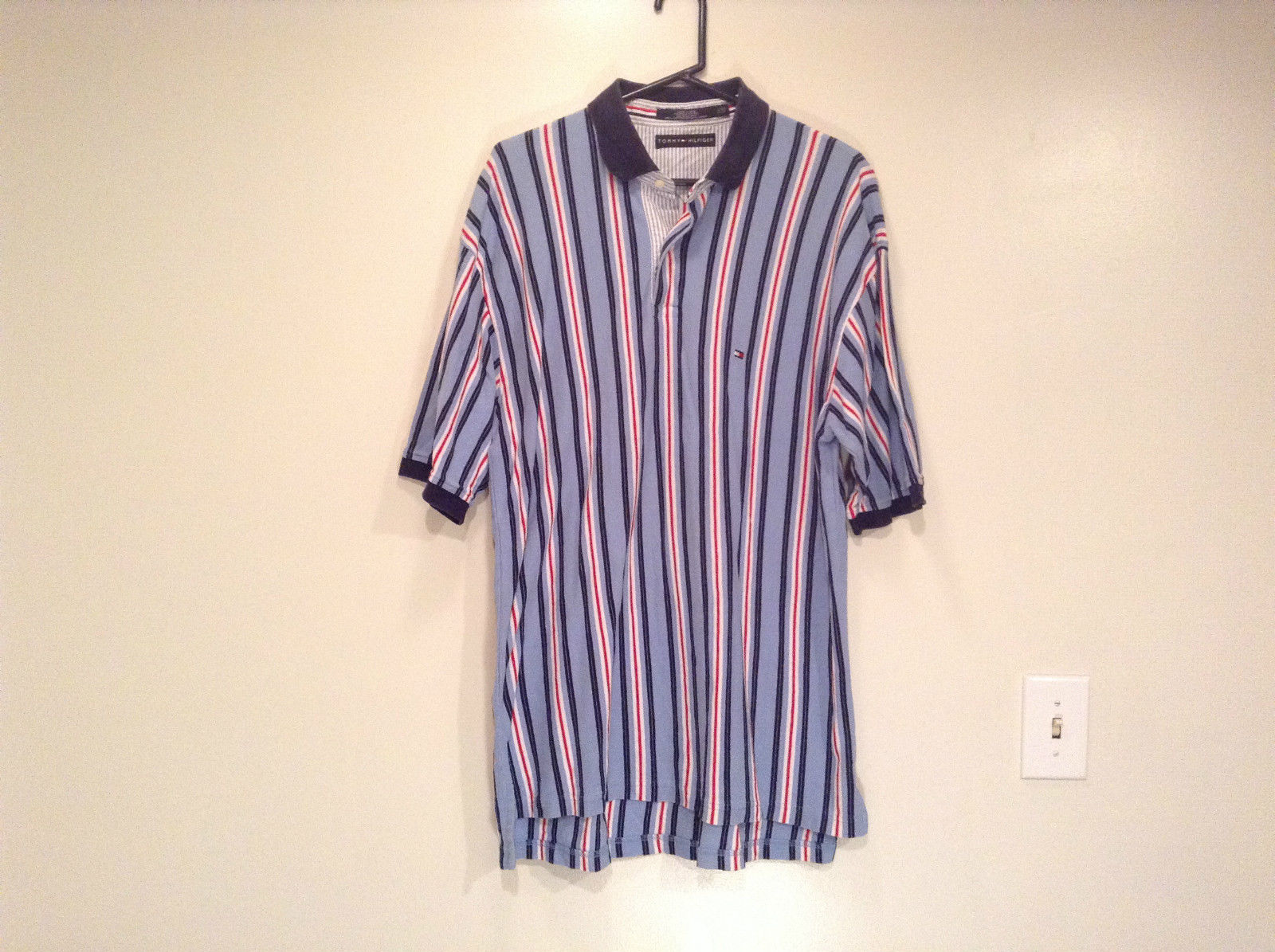 Tommy Hilfiger Size XXL 100 Percent Cotton Short Sleeve Blue with Stripes Shirt