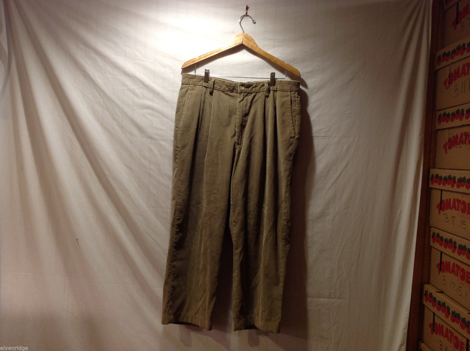 Tommy Hilfiger Mens Brown Beige Corduroy Casual Pants, Size 36 x 30  Unlined