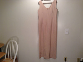 Rickie Freeman 100% Silk Size 14 Beige Sleeveless Evening Party Dress Front Slit image 3