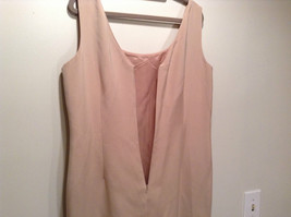 Rickie Freeman 100% Silk Size 14 Beige Sleeveless Evening Party Dress Front Slit image 5