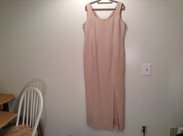 Rickie Freeman 100% Silk Size 14 Beige Sleeveless Evening Party Dress Front Slit image 2