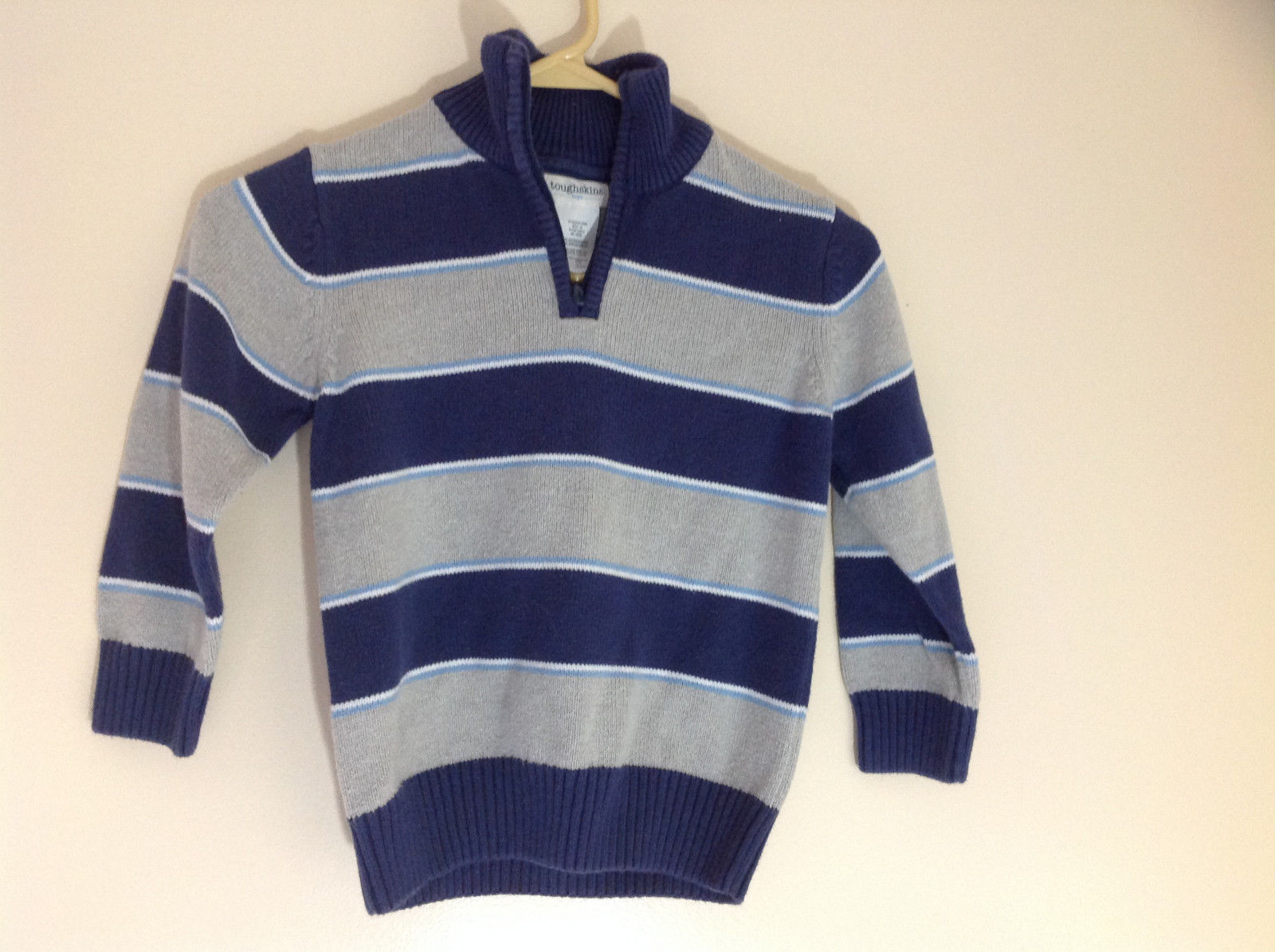 Toughskins Blue Gray Striped Half Zip Up Sweater Turtleneck or Collar Size M