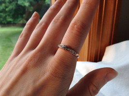 Rose Gold Tone CZ Round Delicate Ring by Rigant Size 7.75 image 4