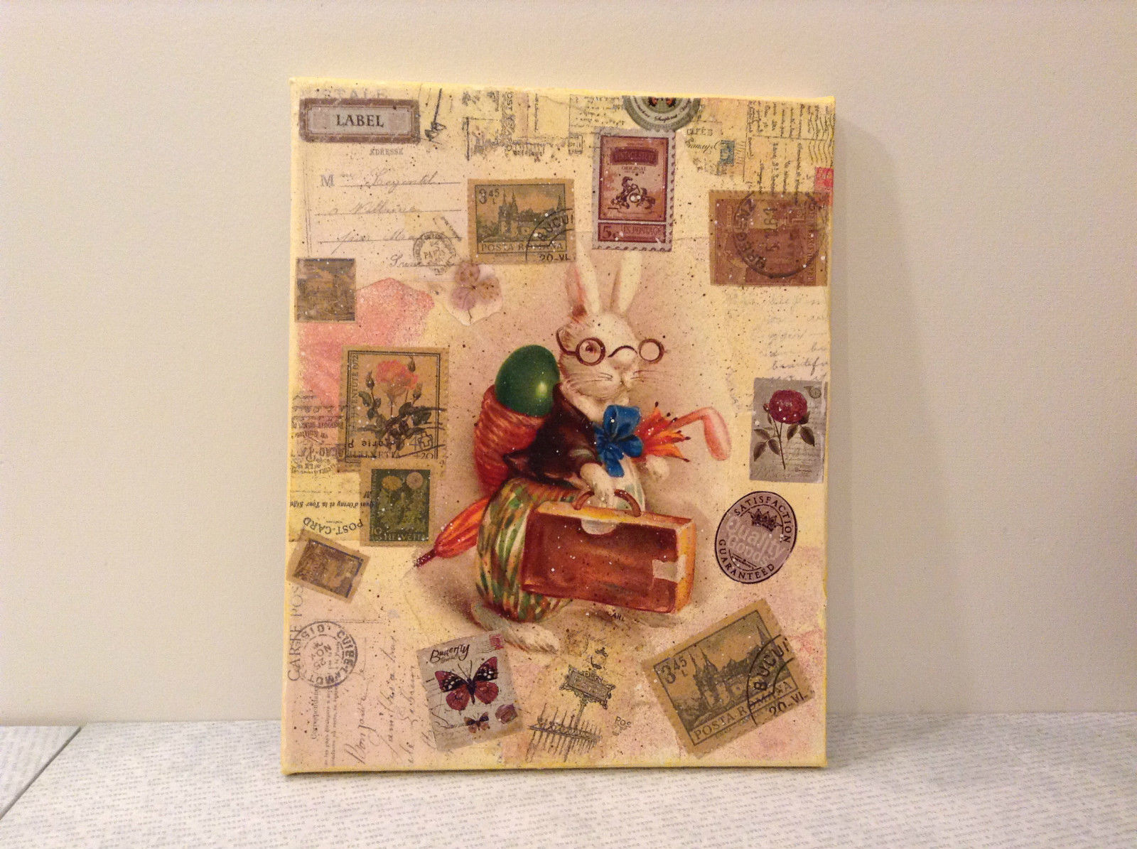 Traveling Bunny Vintage Decorative Canvas Russian Artist Handmade L Mironova