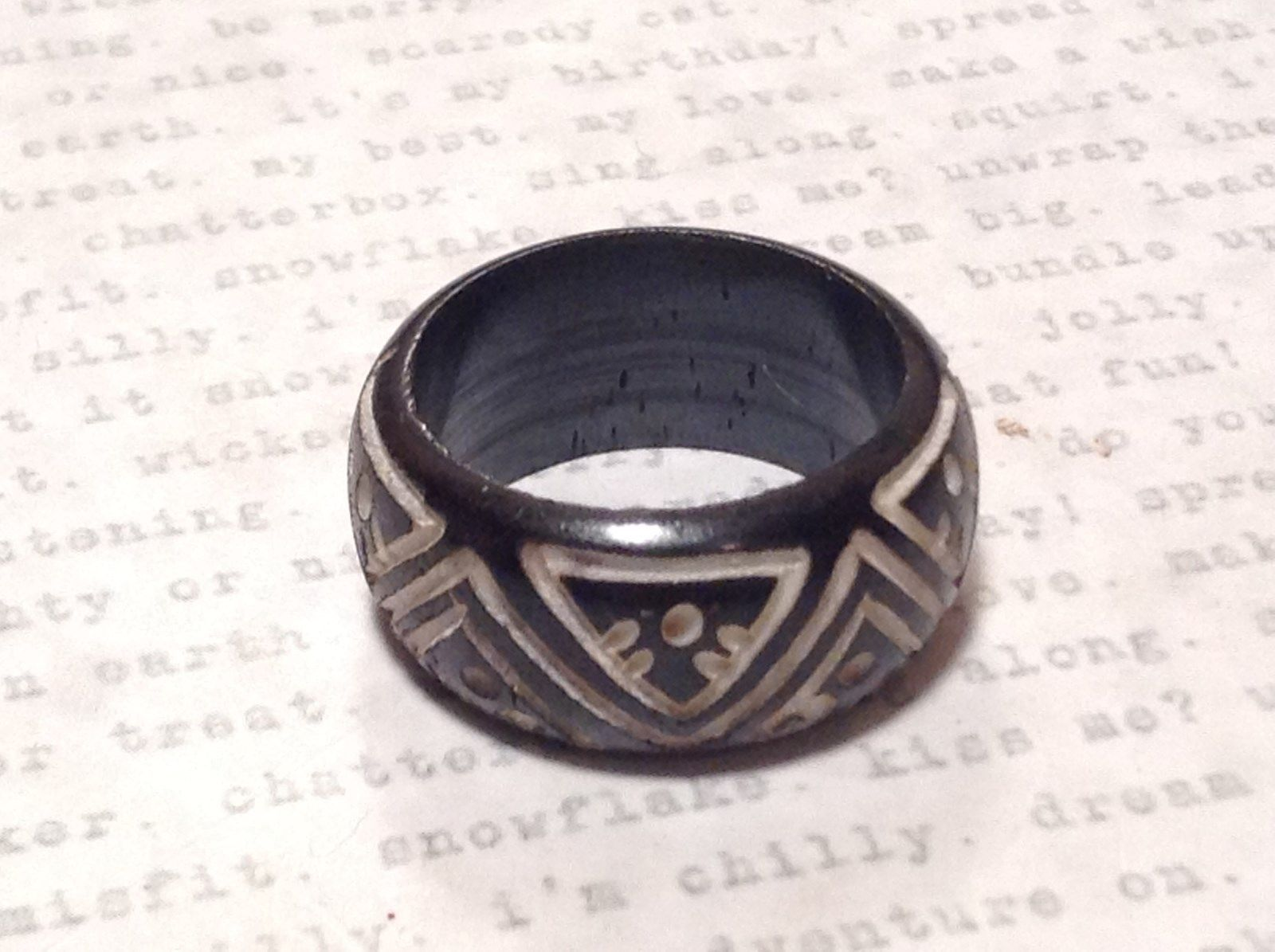 Triangle Pattern Black Wooden Hand Carved Ring Size 6.5