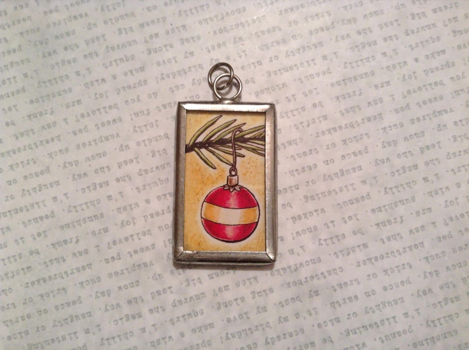 Tree and Ball Charm Present Tie On Versatile Reversible Tag Metal Glass Tag